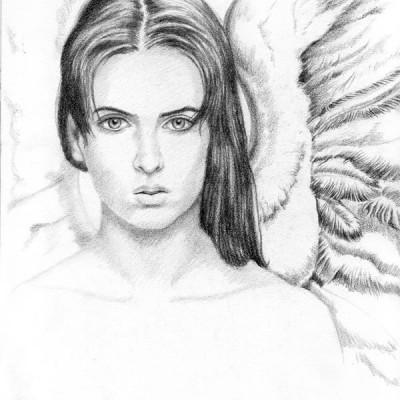 Angel mujer - Grafito