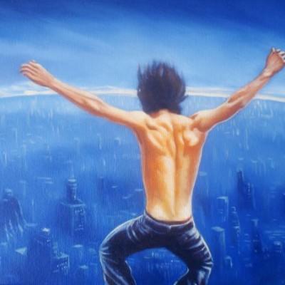 Saltando azul - Oleo sobre lienzo
